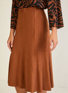 Faux Suede Midi Skirt, Brown