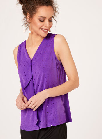 Sequin Jersey Top, Purple, hi-res