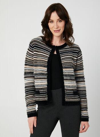 Stripe Print Cardigan, Black, hi-res,  long sleeves, crew neck, knit, fall 2019, winter 2019