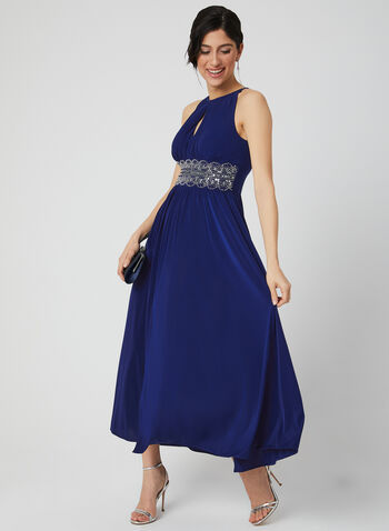Beaded Jersey Dress, Blue, hi-res,  Grecian, dress, jersey, spring 2019