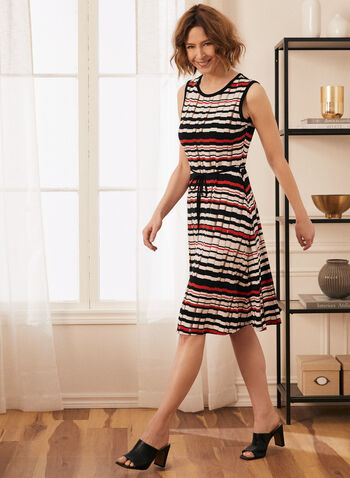 Stripe Print Sleeveless Day Dress, Black,  dress, day, stripe print, round neck, sleeveless, contrast, jersey, spring summer 2021
