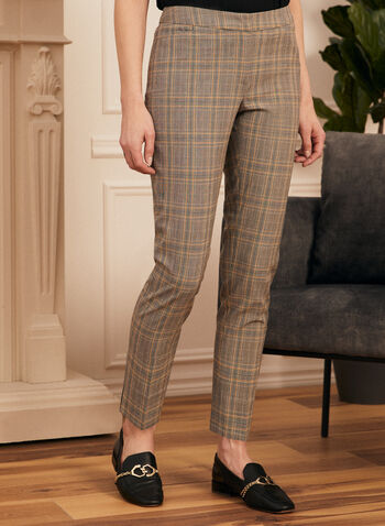 Modern Fit Plaid Print Pants , Black,  pants, modern fit, straight leg pants, plaid print, tartan print, print pants, spring 2020, summer 2020