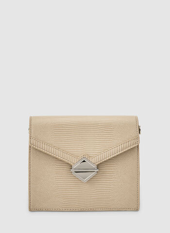Flapover Handbag, Off White,  fauc leather, flapover, chain, metallic, geometric, fall 2019, winter 2019