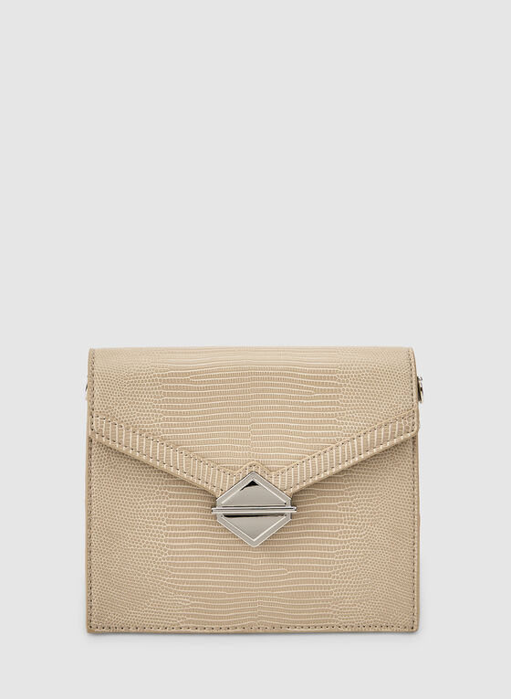 Flapover Handbag, Off White