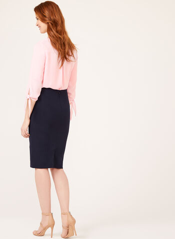 High Rise Grommet Detail Pencil Skirt, Blue, hi-res