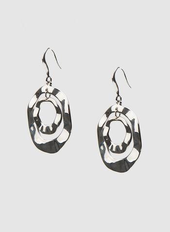 Hammered Metal Earrings, Silver, hi-res