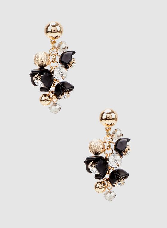 Boucles d'oreilles à grappes de perles et pierres, Noir, hi-res
