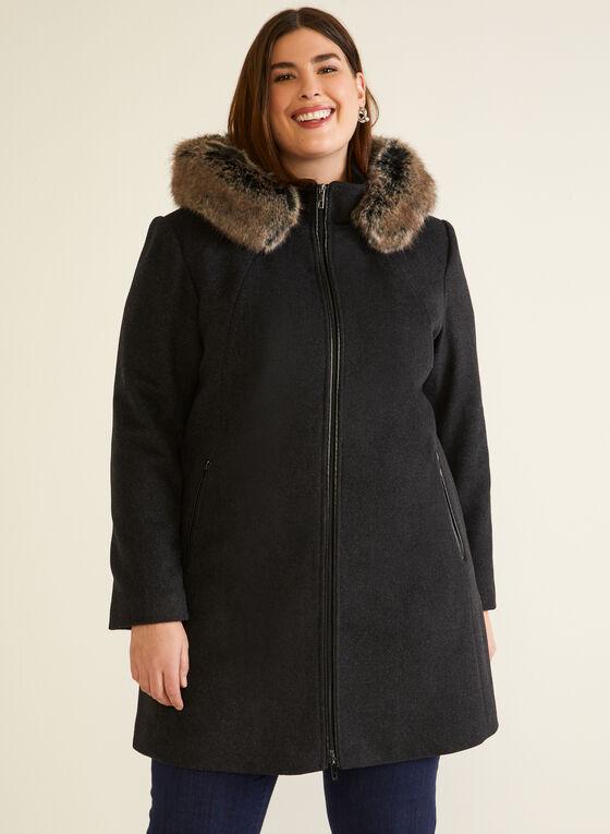 Wool Blend Hooded Zip Coat, Grey