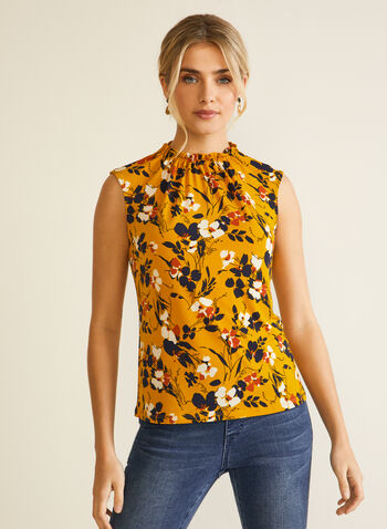 Floral Print Sleeveless Blouse, Yellow,  Fall winter 2020, top, blouse, floral print, sleeveless, smocked neck
