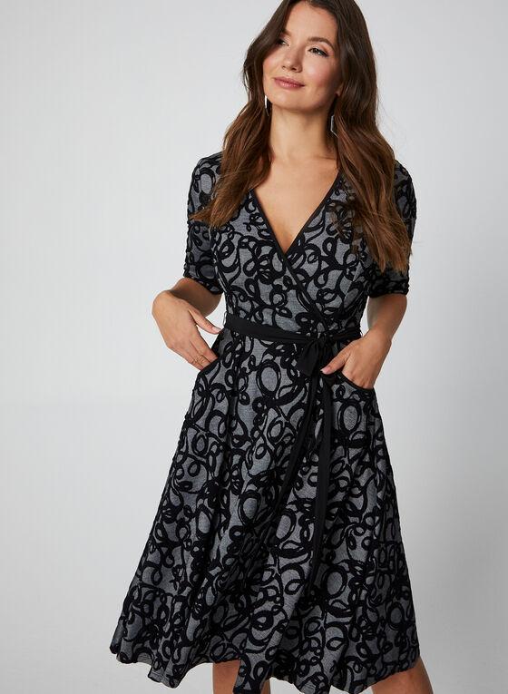 Jacquard Print Dress, Black