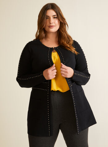 Stud Detail Cardigan, Black,  fall winter 2020, cardigan, knit, long sleeves. studs, studded, pockets