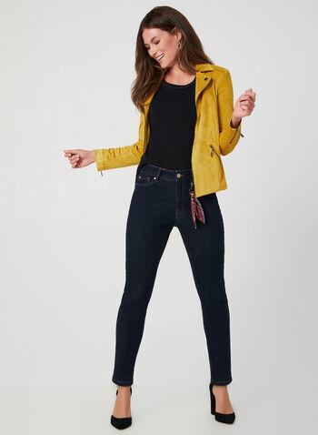 Veste style perfecto effet suède, Brun, hi-res,  manches longues, moto, zips, clous, détails zippés, détails cloutés, fermeture éclair, automne hiver 2019