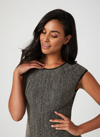 Honeycomb Fit And Flare Dress , Black, hi-res,  extended sleeves, fit and flare, honeycomb pattern, knit, fall 2019, winter 2019
