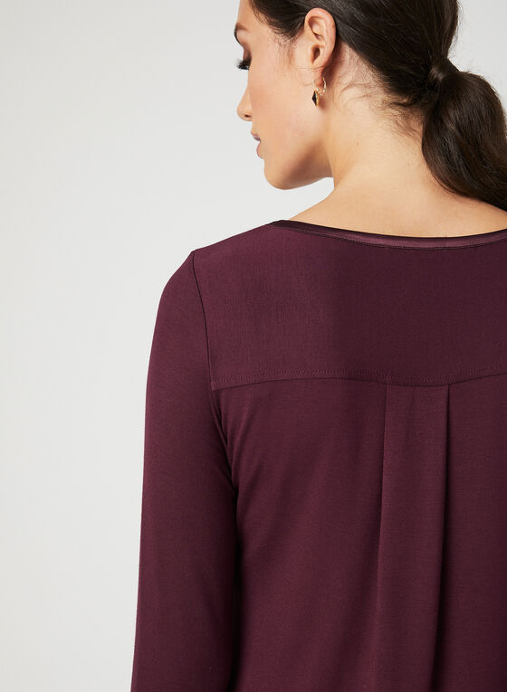 Long Sleeve Satin Trim T-Shirt, Red, hi-res
