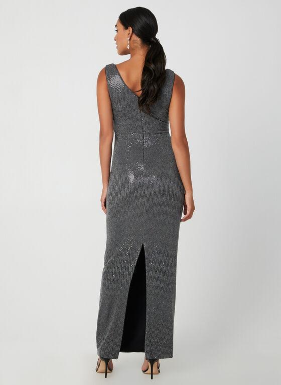 Metallic Faux-Wrap Gown, Grey