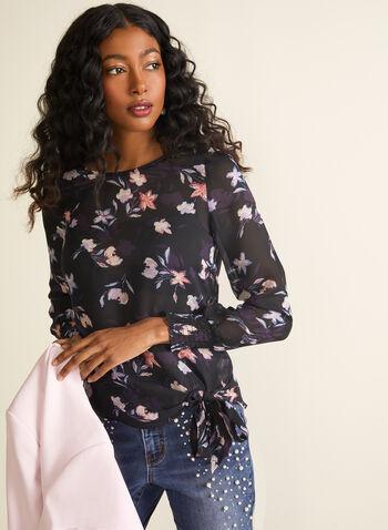 Chiffon Floral Print Blouse, Black,  blouse, top, floral print blouse, floral print, spring blouse, spring top, chiffon blouse, spring 2020, summer 2020