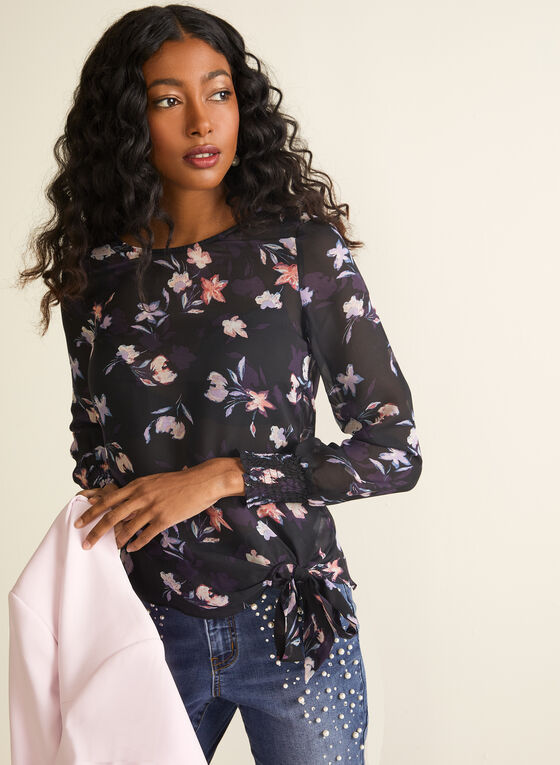 Chiffon Floral Print Blouse, Black