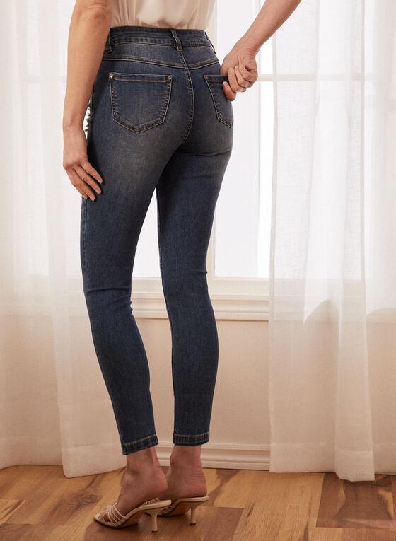 Jeans étroit à détails perles, Bleu