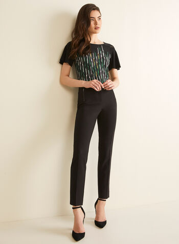 Stripe Print Elbow Sleeve Top, Black,  Canada, elbow sleeves, top, stripes, stripe top, stripe print, mesh, mesh top, spring 2020, summer 2020