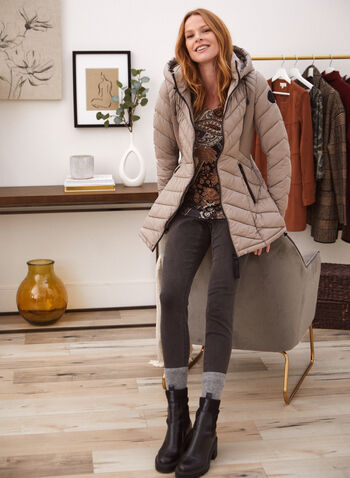 Bernardo - Ecoplume™ Quilted Coat, Beige,  fall 2021, coats, outerwear, jacket, Bernardo, chevron, v shaped, quilted, fabric, material, synthetic, vegan, down, faux down, hood, attached, long sleeves, zipper, Ecoplume