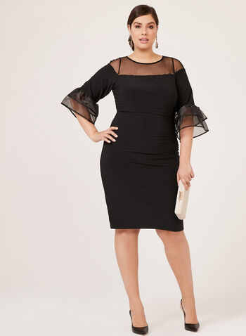 Marina - ¾ Sleeve Illusion Neck Dress, Black, hi-res