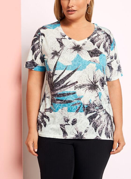 T-shirt col V et motif floral, Bleu, hi-res