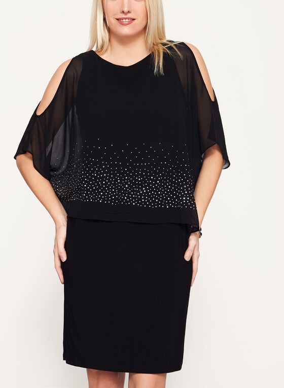 Cold Shoulder Poncho Dress, Black, hi-res