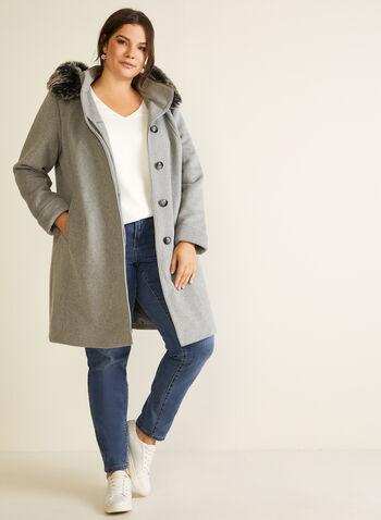 Manteau boutonné en laine mélangée, Gris,  automne hiver 2020, manteau, hiver, manteau d'hiver, capuchon, fausse fourrure, boutons, serge, laine, mélange