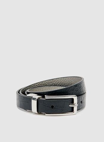 Reversible Faux Crocodile Skin Belt, Black, hi-res