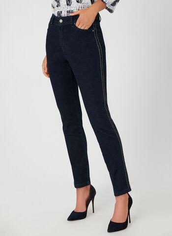 Jeans coupe signature à détails strass, Bleu, hi-res,  jeans, signature, jambe étroite, coton, strass, automne hiver 2019