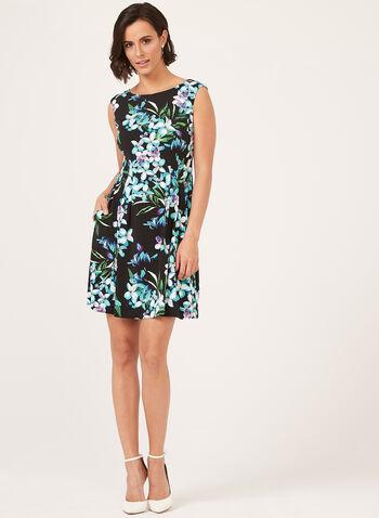 Floral Print Trapeze Dress, Black, hi-res
