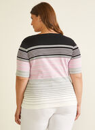 Stripe Print Elbow Sleeve Tee, Black