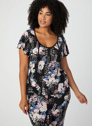 Pyjama 2 pièces motif floral, Rose, hi-res