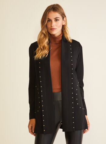 Open Front Stud Detail Jacket, Black,  jacket, open front, studs, ponte di roma, pockets, fall winter 2020