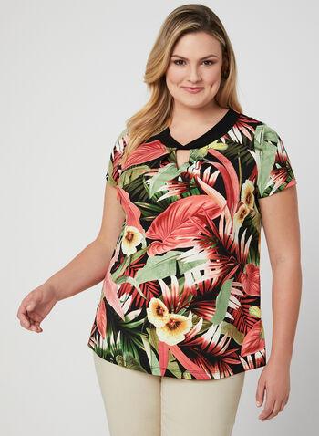 Haut tropical à manches courtes, Multi, hi-res,  haut, manches courtes, tropical, jersey, ajour, printemps 2019