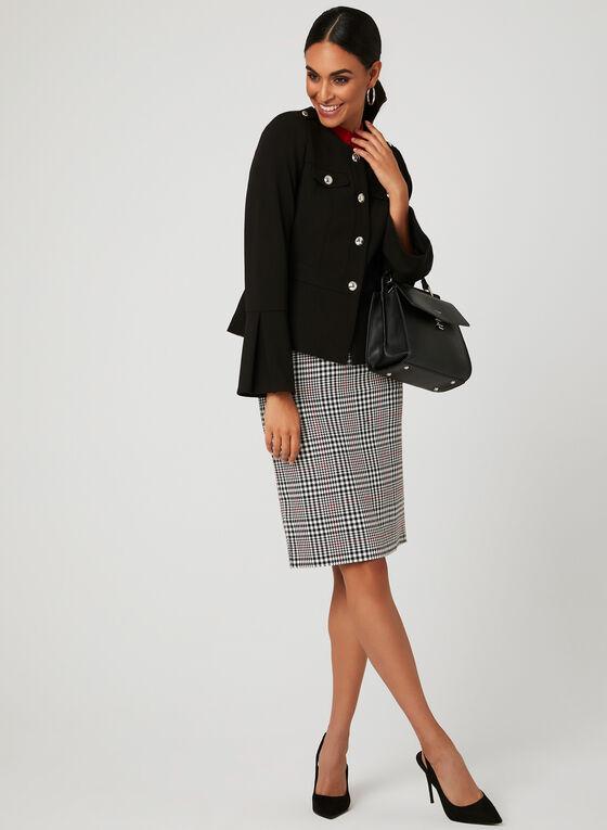 Glen Plaid Print Pencil Skirt, Black, hi-res