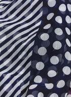 Foulard à rayures, pois et fleurs, Bleu, hi-res