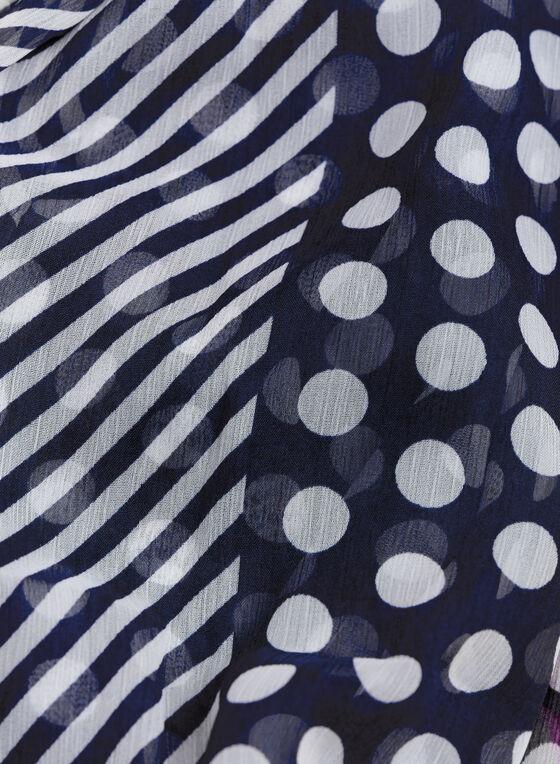 Chiffon Floral & Dot Print Scarf, Blue, hi-res
