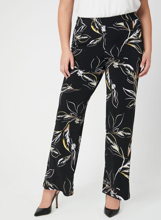 Leaf Print Wide Leg Pants, Black, hi-res