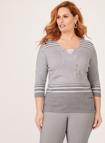 Nautical Stripe Top, Grey, hi-res