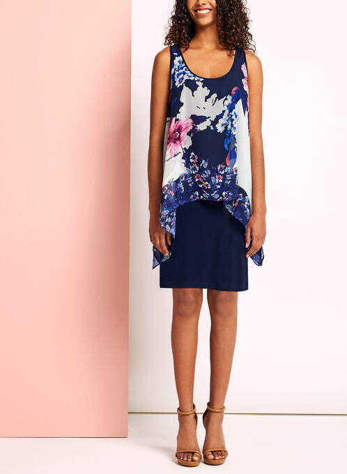 Abstract Floral Print Asymmetric Dress, Blue, hi-res