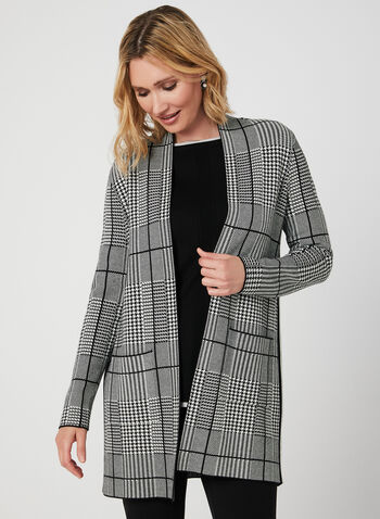 Houndstooth Print Open Front Cardigan, Black, hi-res,  long sleeves, open, fall 2019, winter 2019