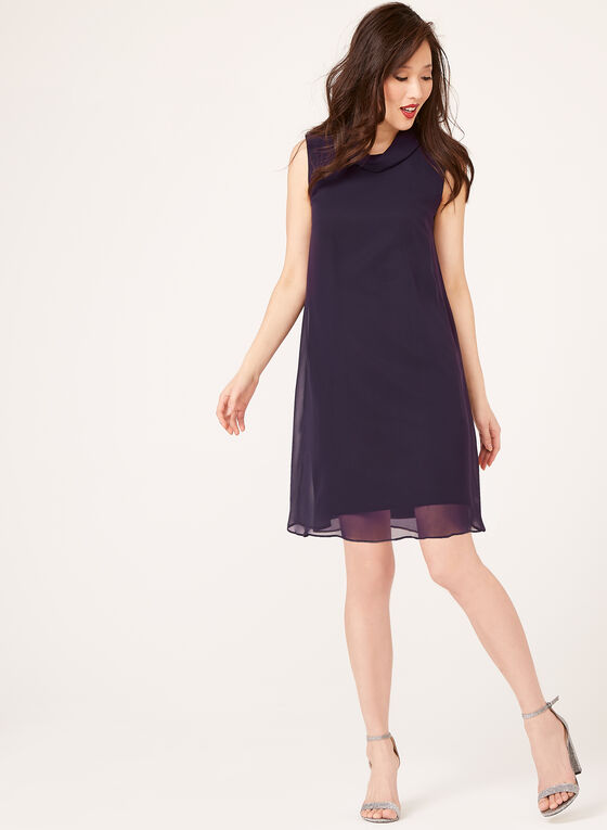 Reverse Collar Chiffon Dress , Purple, hi-res