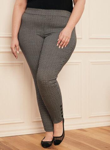 Pantalon coupe cité à motif géométrique, Noir,  pantalon, cité, jambe étroite, géométrique, pull-on, bengaline, printemps été 2020