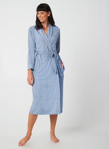 Claudel Lingerie - Printed Bathrobe, Blue, hi-res,  bathrobe, pyjama, print, stretch, fall 2019, winter 2019