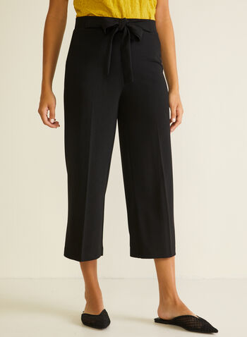 Tie Detail Gaucho Pants, Black,  pants, gaucho, tie, pleats, wide leg, crepe, spring summer 2020