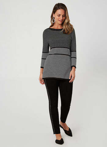 Textured Knit Tunic, Black,  knit, sweater, textured, 3/5 sleeves, studs, tunic, fall 2019, winter 2019