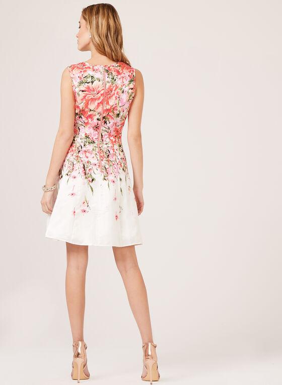 Floral Print Shantung Dress, Orange