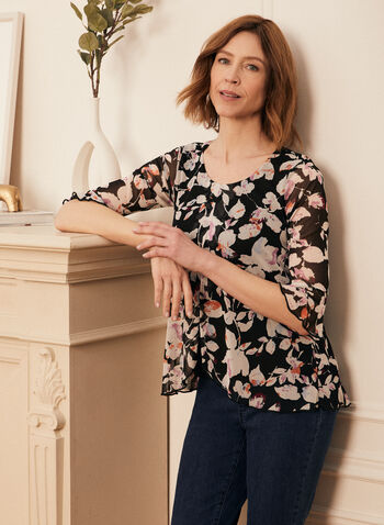 Floral Print Ruffle Sleeve Top, Black,  top, blouse, floral, chiffon, scoop neck, made in Canada, spring summer 2021
