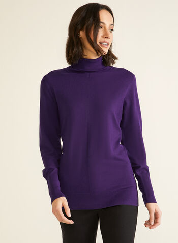 Essential Turtleneck Sweater, Purple,  fall winter 2020, turtleneck, sweater, warm, stretch, comfort, long sleeve, pointelle, topstitch
